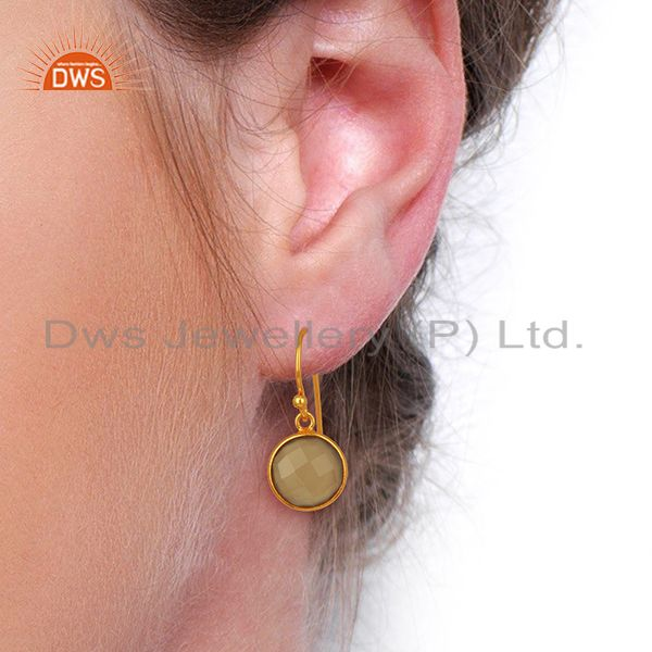 Wholesalers Gray Chalcedony Dangle Gold Plated 925 Sterling Silver Earrings Gemstone Jewelry