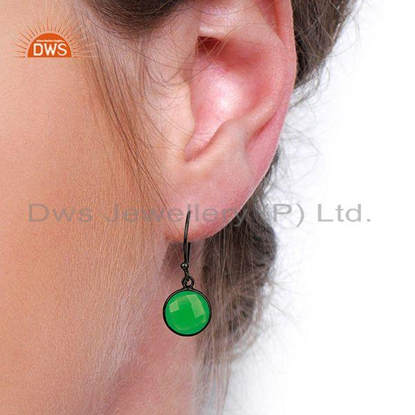 Wholesalers Green Chalcedony Round Faceted Drop Bezel Set Sterling Silver Earring Jewelllery