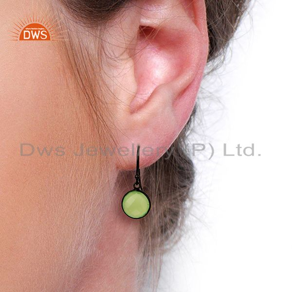 Wholesalers Prehnite Chalcedony Round Faceted Bezel Set 925 Sterling Silver Drop Earrings