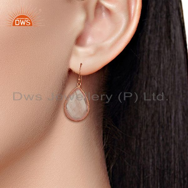 Wholesalers Rose Gold Plated 925 Silver Rose Quartz Gemstone Earrings Manufacturer