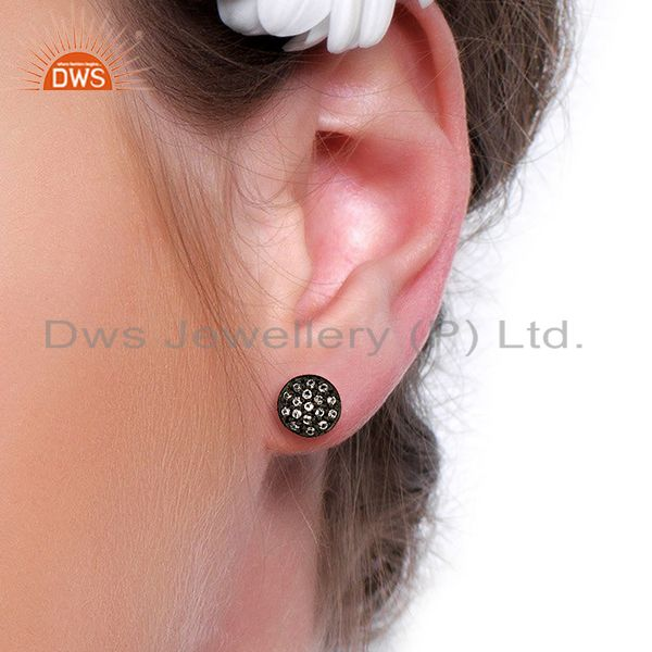 Wholesalers Oxidized Solid Sterling Silver White Topaz Stud Earrings For Womens
