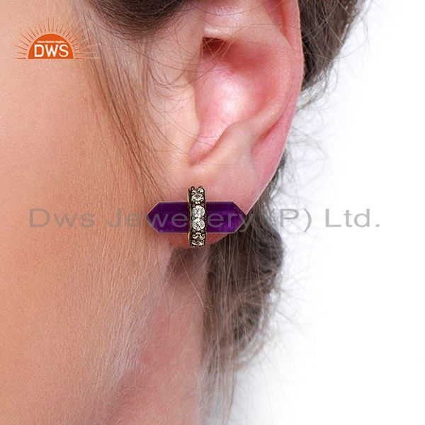 Wholesalers Aventurine Gemstone Womens Fashion Stud Earrings Jewelry Supplier