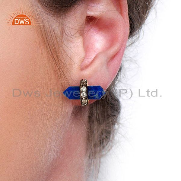Wholesalers Lapis Gemstone CZ Stud Earring Handmade Fashion Earring Supplier