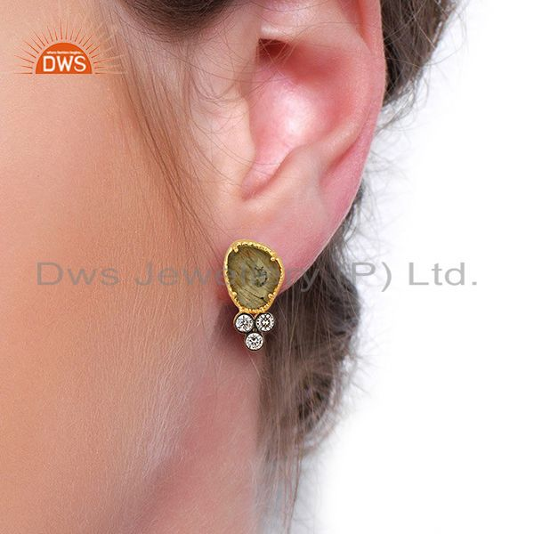 Wholesalers CZ & Labradorite Gemstone Gold Plated Fashion Stud Earring Manufacture