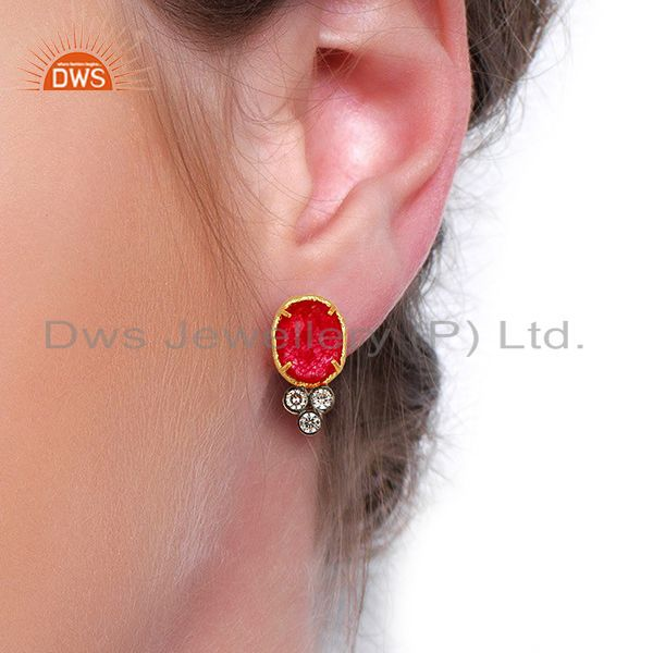 Wholesalers Red Aventiurine Gemstone CZ Gold Plated Fashion Stud Earrings