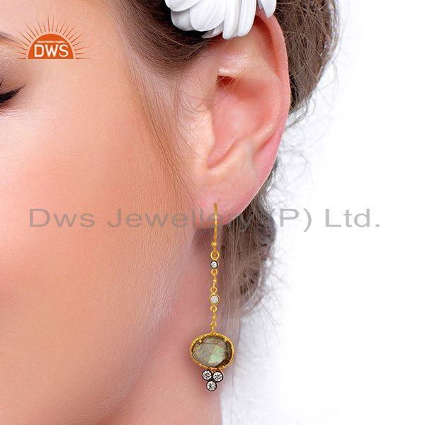 Wholesalers Handmade Gold Plated CZ Natural Labradorite Gemstone Drop Earrings