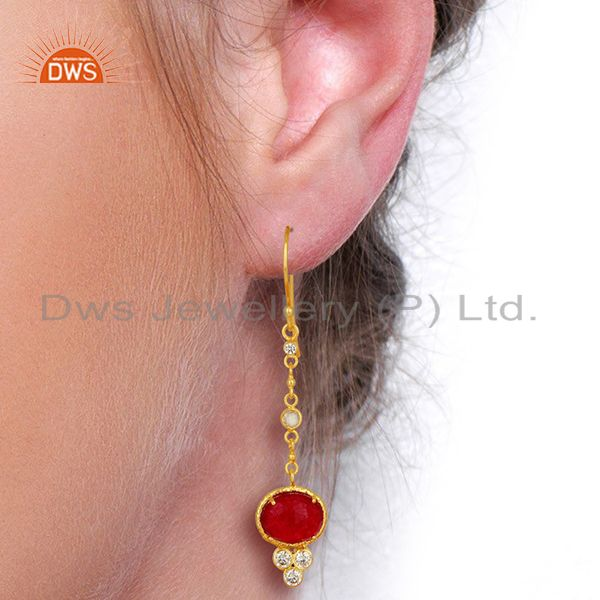 Wholesalers CZ Red Aventurine Gemstone Gold Plated Brass Earrings Supplier