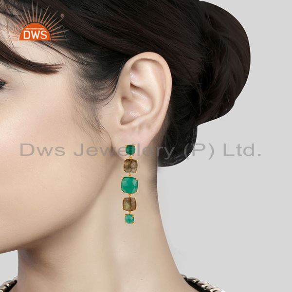 Wholesalers Prong Setting Labradorite and Green Onyx Gemstone 925 Silver Gold Plated Earring