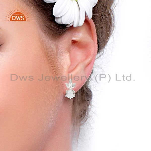 Wholesalers Crystal Quartz Stone 92.5 Sterling Silver Stud Earrings Manufacturer India