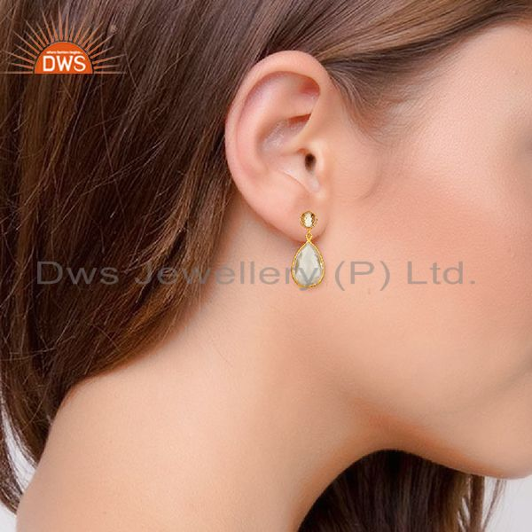 Wholesalers Handmade 925 Silver Gold Plated Crystal Quartz Drop Earrings Supplier