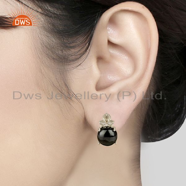 Wholesalers Handmade Prong Setting Multi Gemstone Silver Earrings Manufacturers