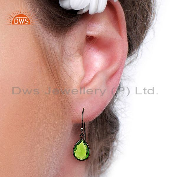 Wholesalers Wholesale Glass Peridot Gemstone Black Rhodium Plated Silver Earrings