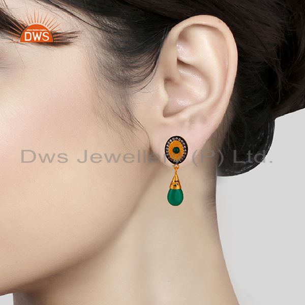 Wholesalers Green Onyx and Zircon Gemstone 925 Silver Drop Earrings Manufacturer