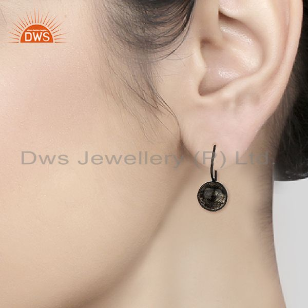 Wholesalers Black Rutile and 925 Silver Girls Drop Earrings Wholesale Supplier
