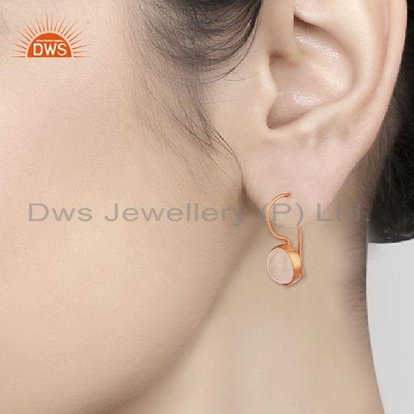 Wholesalers Round Rose Quartz Gemstone 925 Silver Rose Gold Plated Earring Jewelry