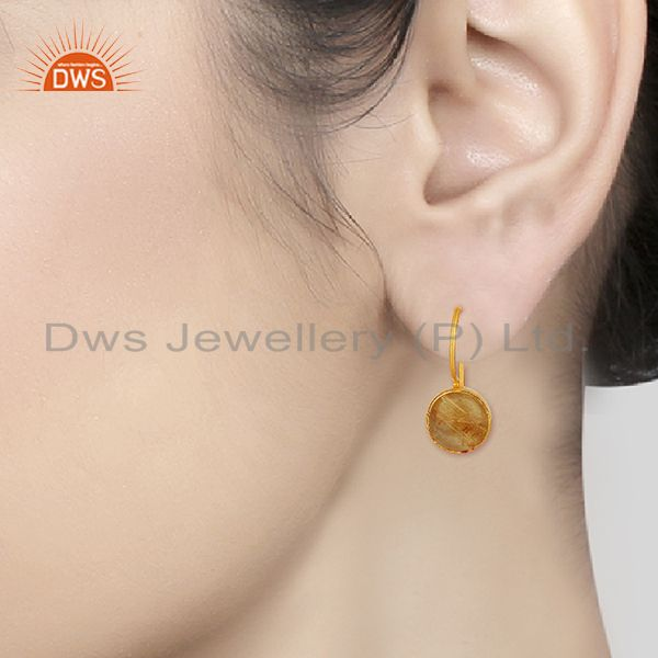 Wholesalers Golden Rutile Gemstone Gold Plated 925 Silver Earring Wholesale