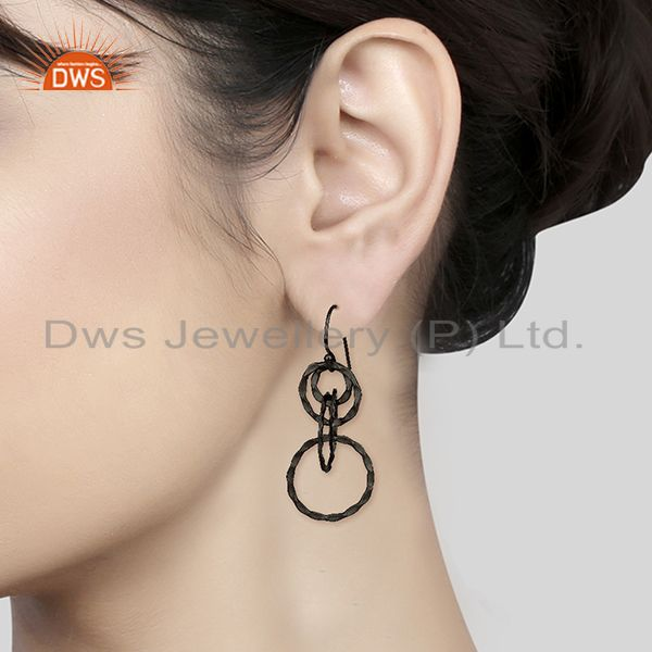Wholesalers Black Rhodium Plated 925 Silver Round Link Earrings Manufacturer