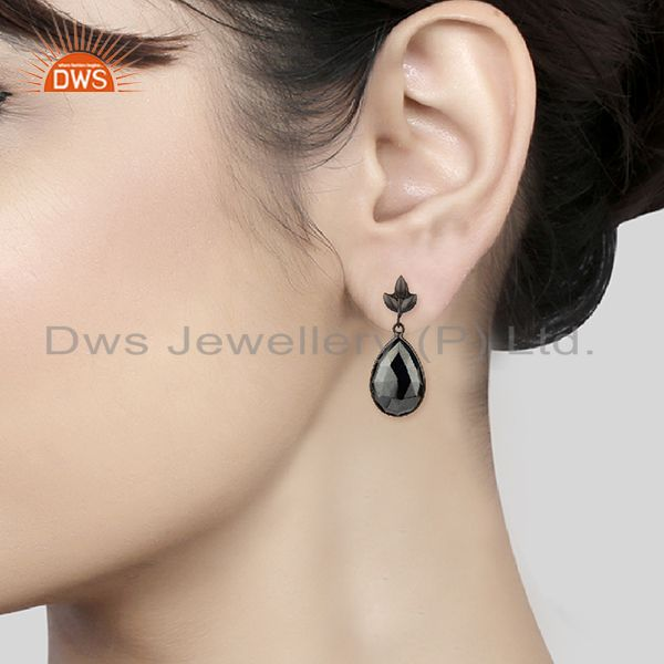 Wholesalers Black Rhodium Plated 925 Silver Hematite Gemstone Earrings Jewelry