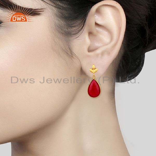 Wholesalers Red Aventurine Gemstone 925 Silver Gold Plated Girls Earrings Jewelry