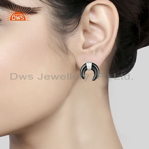 Wholesalers Hematite Crescent Moon 925 Sterling Silver Studs Earring Jewelry