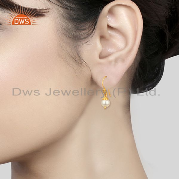 Wholesalers Natural Pearl Gemstone 925 Silver Gold Plated Girls Drop Earrings