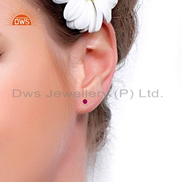 Wholesalers Rose Gold Plated Handmade 925 Silver Ruby Corundum Stone Stud Earrings Wholesale
