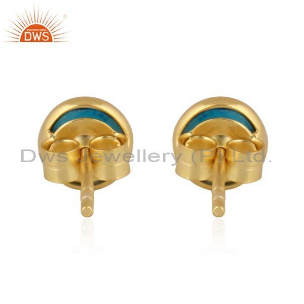 Turquoise set gold on sterling silver round classic earrings