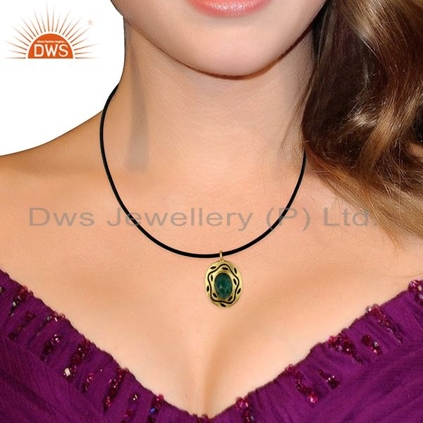 Wholesalers 18K Yellow Gold Plated Sterling Silver Emerald Pendant With Black Cord Necklace