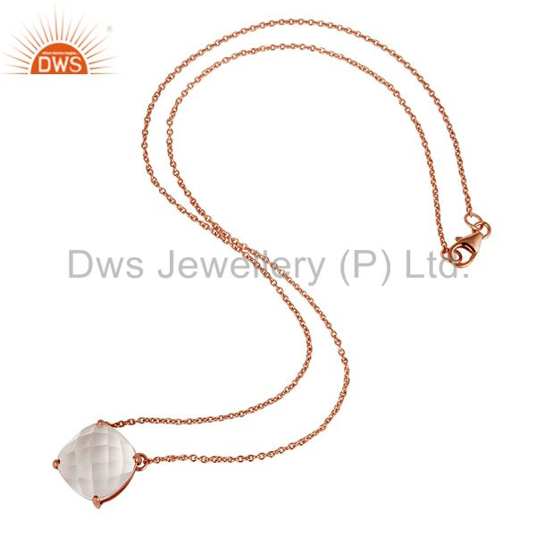 Wholesalers 925 Sterling Silver Rose Gold Plated Crystal Gemstone Prong Set Chain Necklace