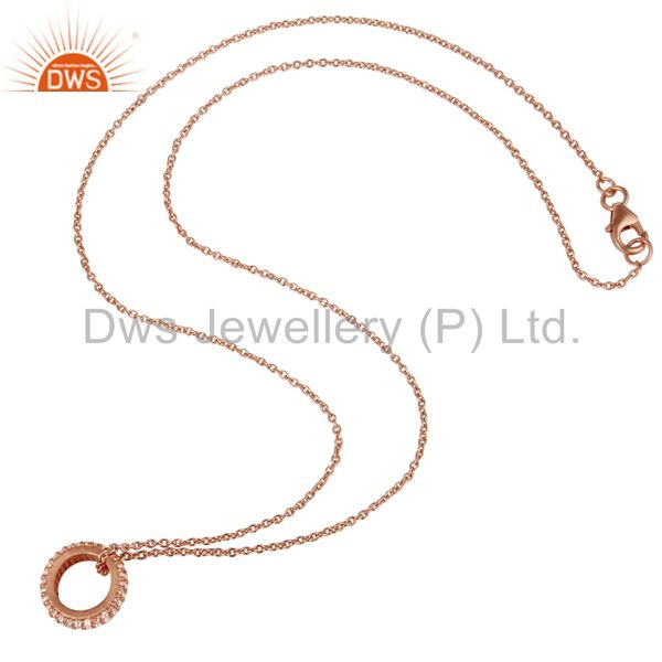 Wholesalers 18k Rose Gold Plated Sterling Silver Fashion Charming White Topaz Chain Pendant