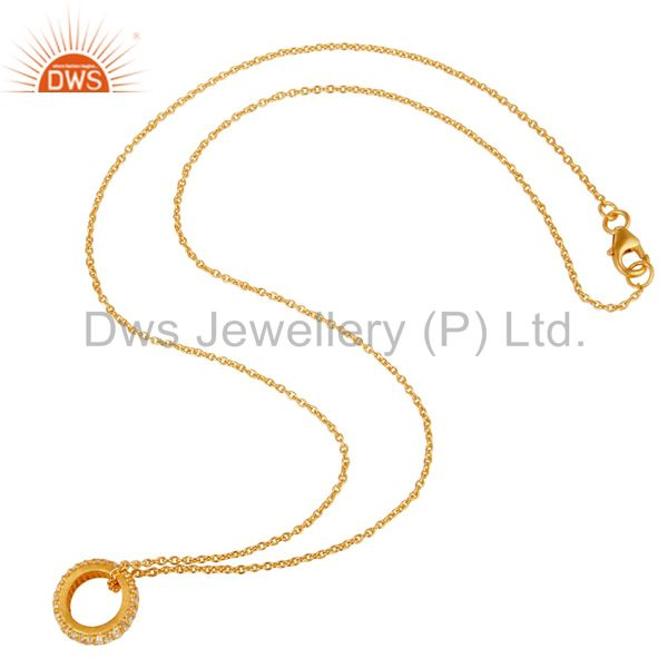 Wholesalers 18k Yellow Gold Plated Sterling Silver Fashion White Topaz Chain Pendant