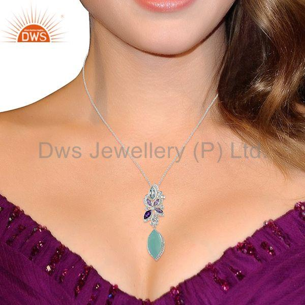 Wholesalers Aqua Chalcedony Gemstone White Topaz Gemstone Pendant Necklace