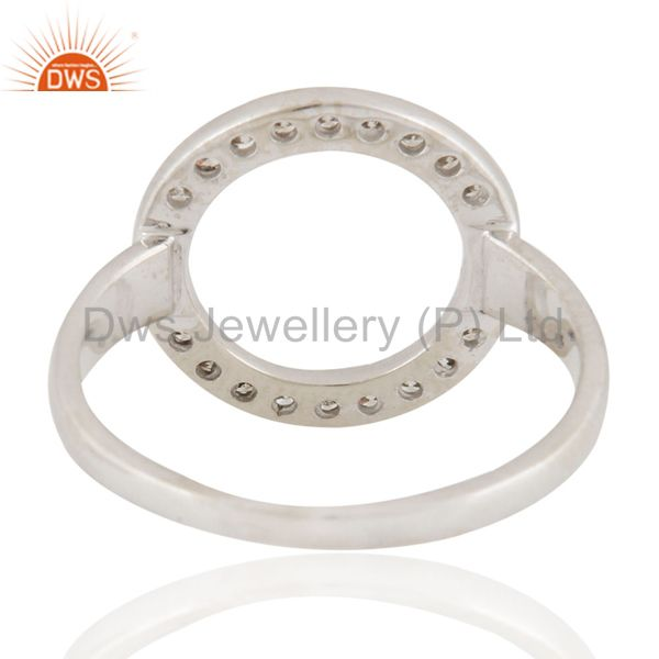 Wholesalers 925 Sterling Silver Pave Set Natural Diamond Open Circle Ring