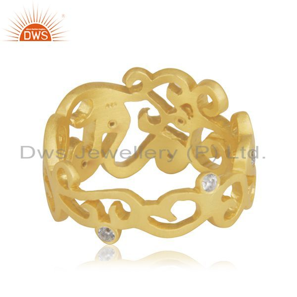 Wholesalers 18K Yellow Gold Plated Sterling Silver Cubic Zirconia Designer Band Ring