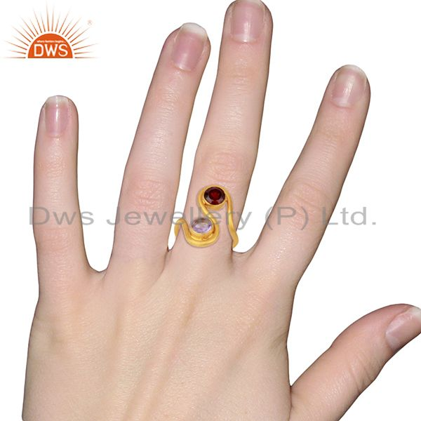 Wholesalers Amethyst and Garnet Gemstone Gold Plated Silver Fashion Ring Jewelry