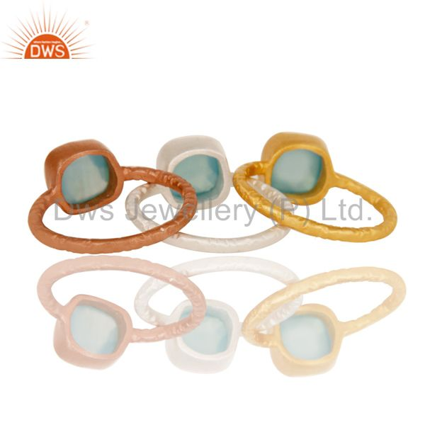 Wholesalers 18K Gold Plated Sterling Silver Aqua Chalcedony Gemstone Stacking Ring 3 Pcs Set
