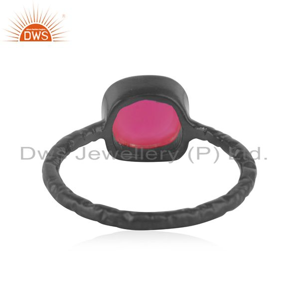 Wholesalers Dyed Pink Chalcedony Gemstone Black Rhodium Plated Sterling Silver Ring