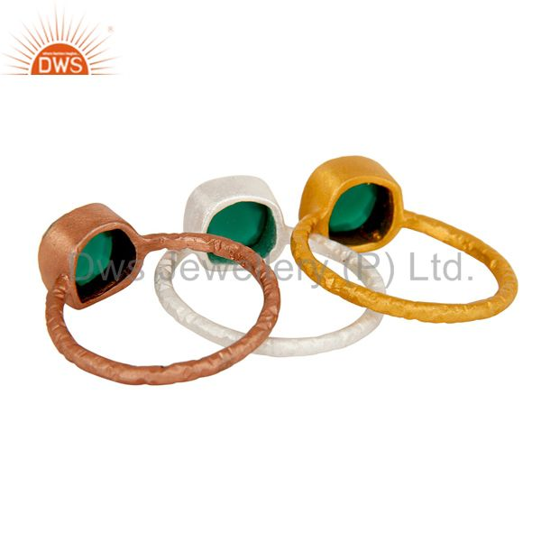 Wholesalers Rose and Yellow Gold Plated Sterling Silver Green Onyx Hammered Stacking Ring