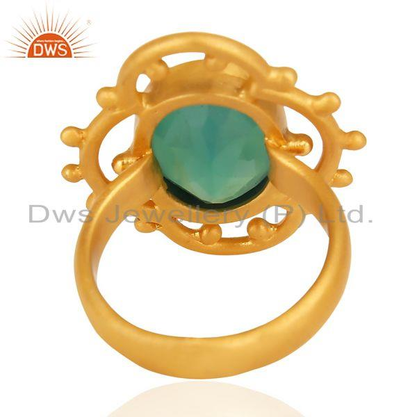 Wholesalers Green Onyx Faceted Stone Filigreen Artisan 14 K Gold Plated Ring
