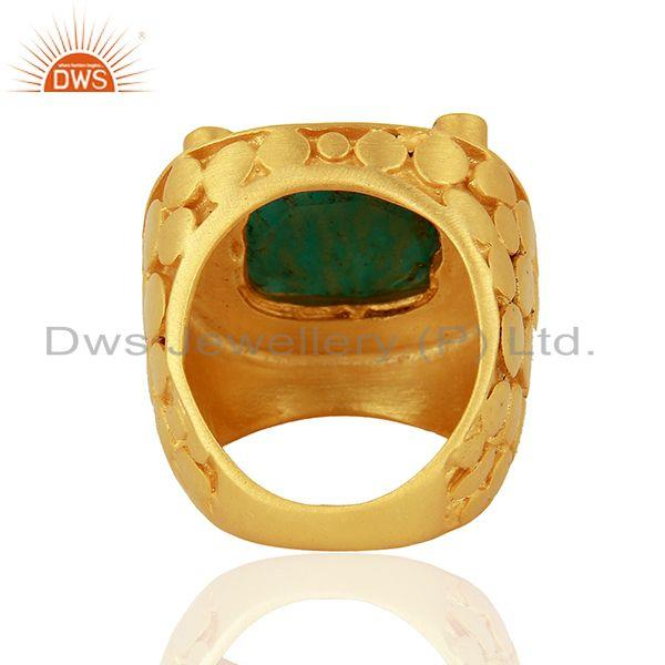 Wholesalers CZ Amazonite Gemstone Gold Plated Stud Ring Jewelry Supplier