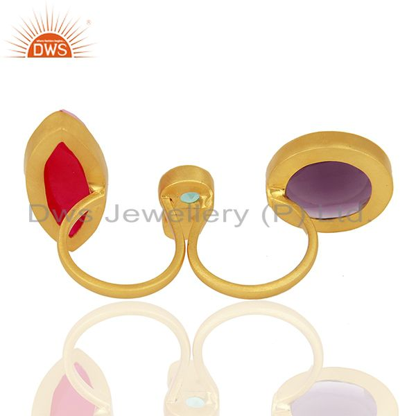 Wholesalers Hydro Gemstone Gold Plated Brass Fashion Ring Jewelry Supplier