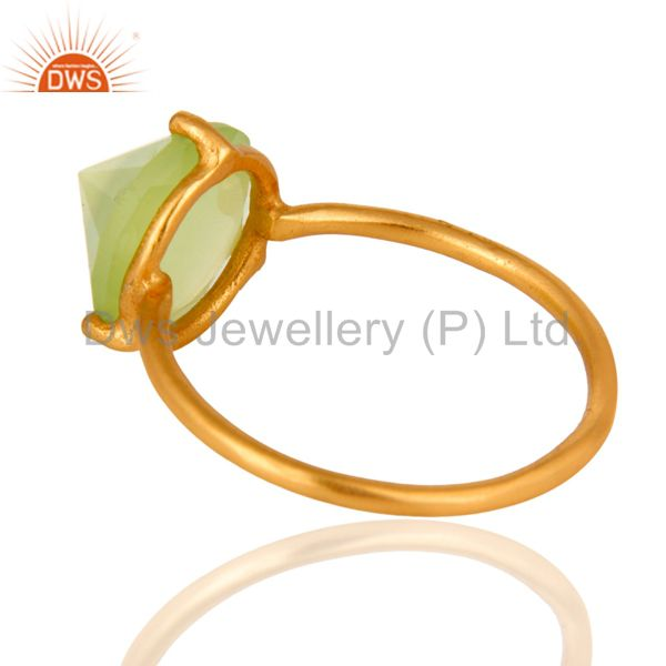 Wholesalers 14K Gold Plated 925 Sterling Silver Pointed Design Chalcedony Ring Jewelry