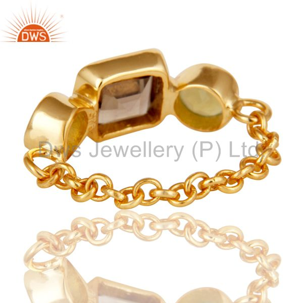 Wholesalers Designer 22K Gold Plated Sterling Silver Chain Link Ring With Smoky Quartz
