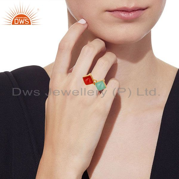 Wholesalers Red Coral, Aqua & White Zirconia Ring Made In 14K Gold Plated 925 Silver