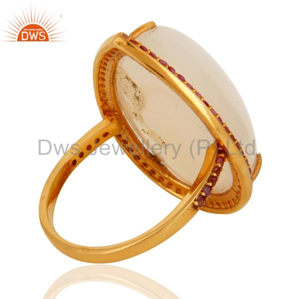 Wholesalers Handmade Natural Fire Opal Gemstone 9K Yellow Gold Ring With Pink Sapphire