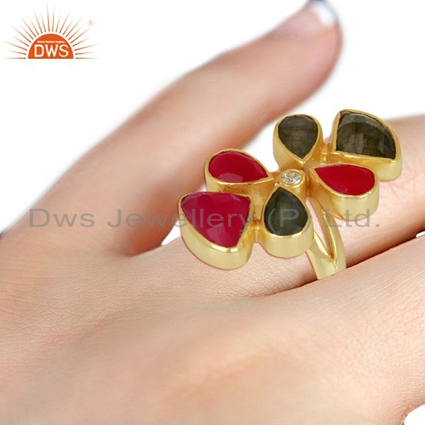 Wholesalers Natural Labradorite And Dyed Pink Chalcedony Gold Plated Statement Ring