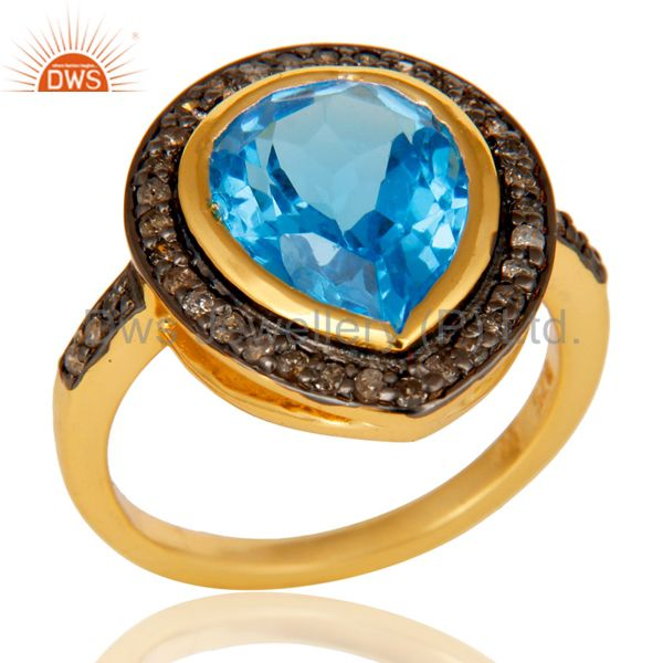 Wholesalers 18k Gold Plated Sterling Silver Design Ring with Blue Topaz & Diamond