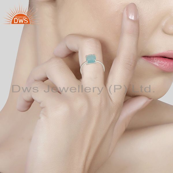 Wholesalers Aqua Chalcedony Stackable 925 Sterling Silver Ring Jewelry