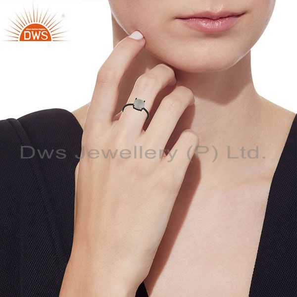 Wholesalers Black Oxidized 925 Sterling Silver White Moonstone Prong Set Stacking Ring