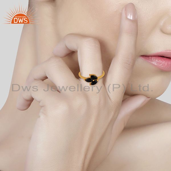 Wholesalers Black Onyx Prong Set Gemstone 925 Silver Gold Plated Women Rings